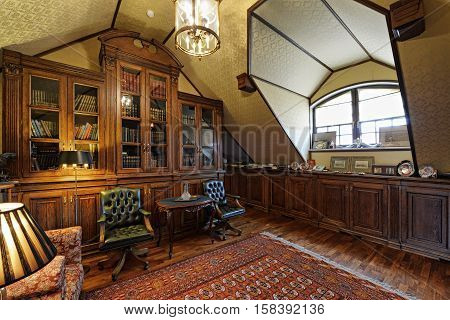 the home office interior in luxury country house