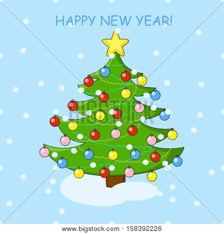 Holiday card with christmas tree and happy new year background. Winter vector illustration.