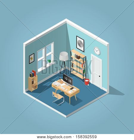 Home office concept isometric vector illustration. Detailed isometric side view interior home office room with bookshelf desk clocks box chair books laptop / computer papers coffee cup.