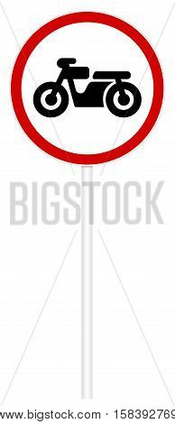 Prohibitory traffic sign isolated on white 3D illustration - Motorcycles movement