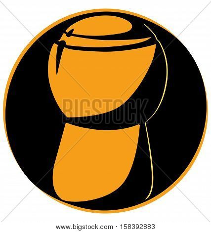 Champagne Cork Upright On A Black Circle Logo White Background