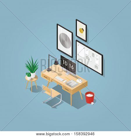 Isometric vector home office concept illustration. Workplace interior set: mid century office table modern chair pictures board home plants desktop computer lamp trash can letters keyboard.