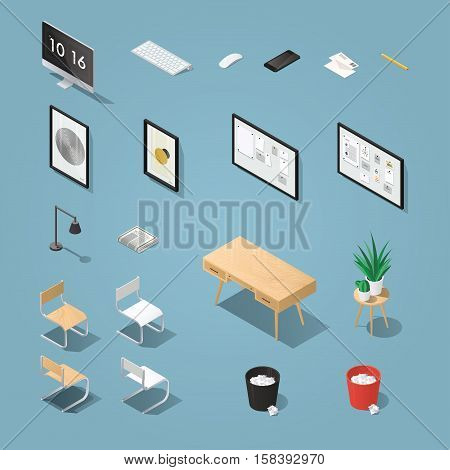 Isometric office furniture and computer set. Detailed objects. Collection includes mid century table chair painting picture board lamp chair houseplants desktop computer keyboard phone.