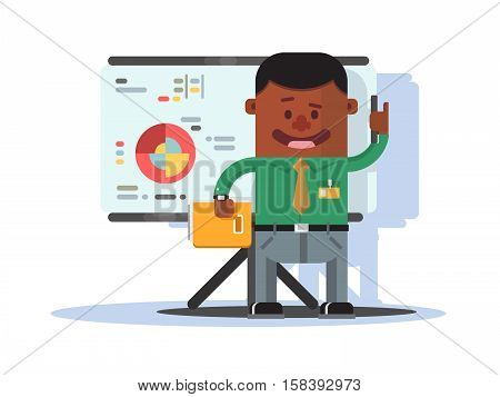 Office worker near whiteboard with graphs and diagrams. Vector illustration