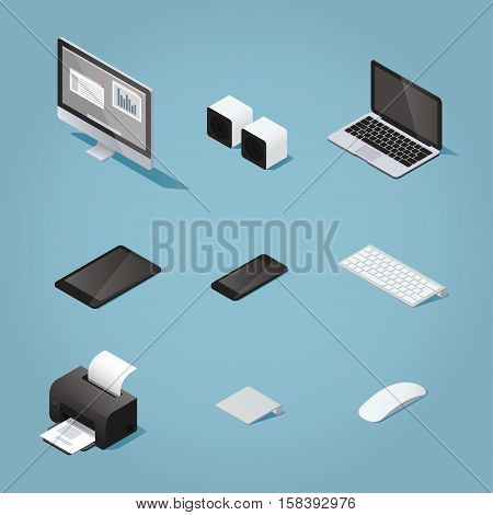 Isometric digital vector objects set illustration. Collection of computers and supplies: desktop speakers laptop tablet phone keyboard printer trackpad mouse.