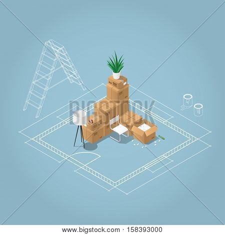 Isometric apartment room renovation concept illustration. Blueprint plan of room with ladder and paint in jars and the bunch of cardboard boxes home stuffs: lamp chair houseplant tape open box. Moving to a new house concept.