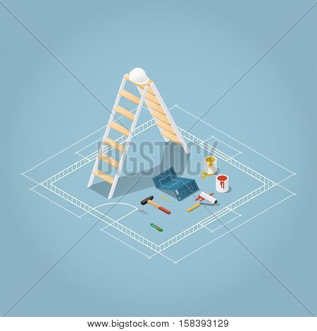 Isometric vector apartment room renovation illustration. Toolbox set: blueprint plan of room buckets with paint paint roller helmet hammer nails knife pencil. Repair and construction concept.