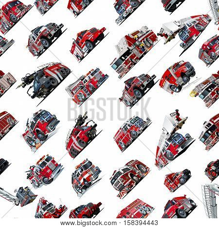 Cartoon Fire Truck seamless pattern isolated on white background