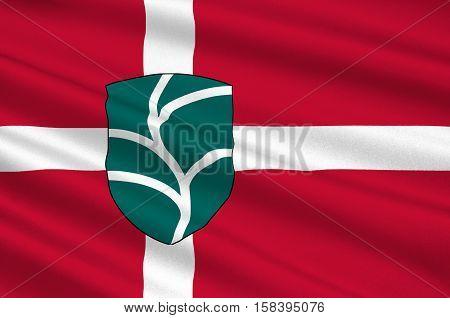 Flag of Favrskov in Central Jutland Region in Denmark. 3d illustration