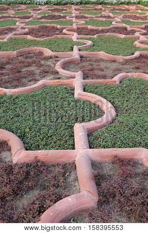 AGRA, INDIA - FEBRUARY 14 : Angoori Bagh or Garden of Grapes at Agra Fort. It's symmetrical garden near Dewan-e-Khaas. It was a private garden for Mughal ladies. Agra on February, 14, 2016.