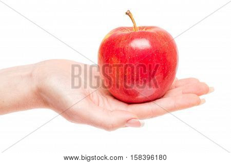 Red apple in woman hand isolated on whine background.