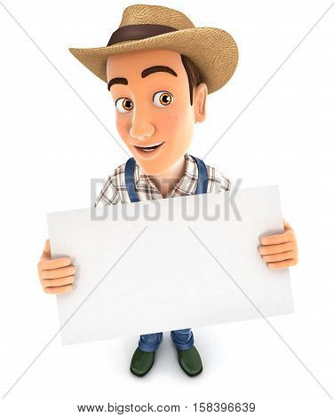 3d farmer holding a billboard illustration with isolated white background