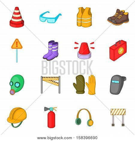 Safety work icons set. Cartoon illustration of 16 safety work vector icons for web