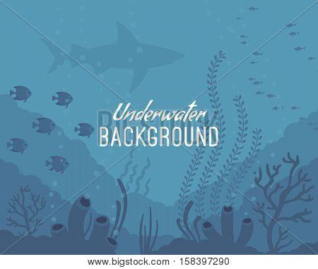 Underwater background, marine habitats, incredible species. Cartoon vector flat-style graphic template