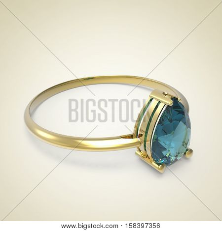 Diamond Ring on a light background. Fashion jewelry. 3d digitally rendered illustration