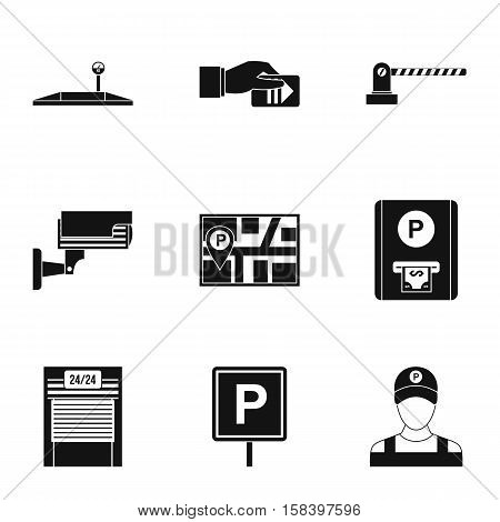 Parking station icons set. Simple illustration of 9 parking station vector icons for web