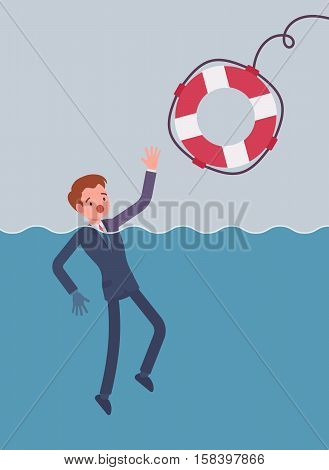 Giving a lifebuoy for drowning businessman. Cartoon vector flat-style concept illustration