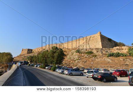 RETHYMNO GREECE - 08.03.2016: Venetian Fortezza fortress landmark exterior walls architecture
