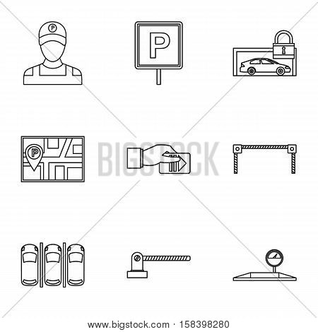 Valet parking icons set. Outline illustration of 9 valet parking vector icons for web