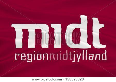 Flag of Central Jutland Region in Denmark. 3d illustration