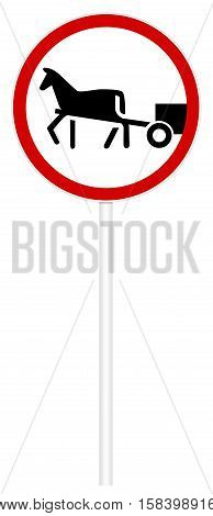 Prohibitory traffic sign isolated on white 3D illustration - Cartage movement