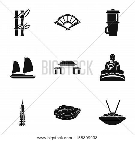 Vietnam icons set. Simple illustration of 9 Vietnam vector icons for web