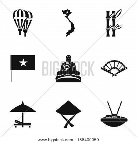 Country Vietnam icons set. Simple illustration of 9 country Vietnam vector icons for web