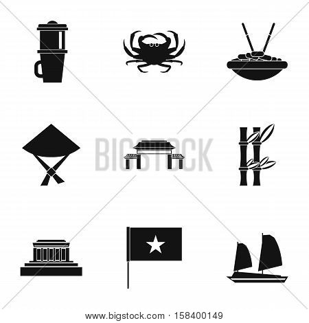 Holiday in Vietnam icons set. Simple illustration of 9 holiday in Vietnam vector icons for web