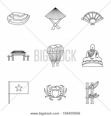 Tourism in Vietnam icons set. Outline illustration of 9 tourism in Vietnam vector icons for web