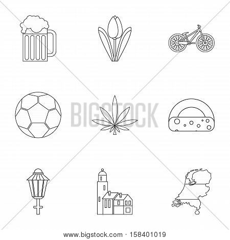 Country Holland icons set. Outline illustration of 9 country Holland vector icons for web