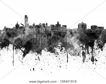 Albany Skyline In Black Watercolor On White Background