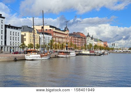 Helsinki Finland. Very beautiful North Quay in a sunny autumn day