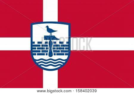 Flag of Herning in Central Jutland Region in Denmark