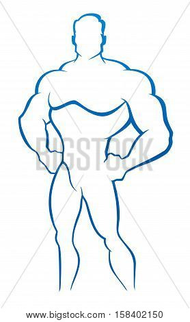 Vector illustration of sport muscleman logo bodybuilder
