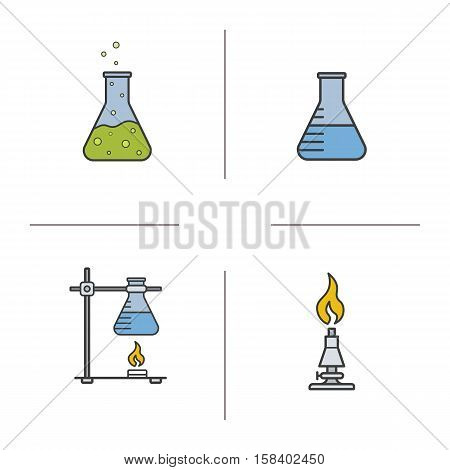 School chemistry lab color icons set. Beaker with liquid, ring stand with flask, laboratory burner, chemical reaction. Isolated vector illustrations
