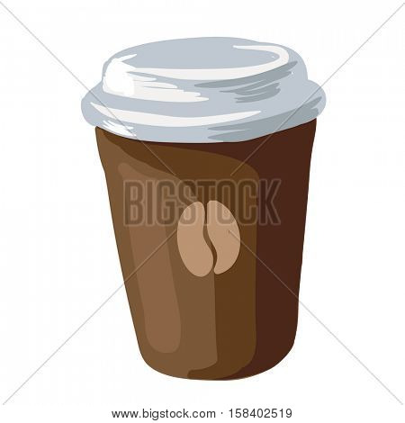Disposable coffee cup. Paper or cardboard container for hot liquid with plastic lid. Takeaway drink icon in flat style. Vector illustration of isolated on white background.