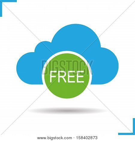 Cloud storage free space icon. Drop shadow silhouette symbol. Cloud computing. Negative space. Vector isolated illustration