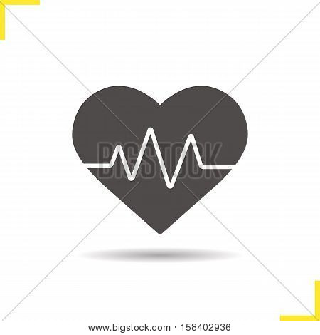 Heartbeat icon. Drop shadow cardiology silhouette symbol. Heart pulse. Negative space. Vector isolated illustration