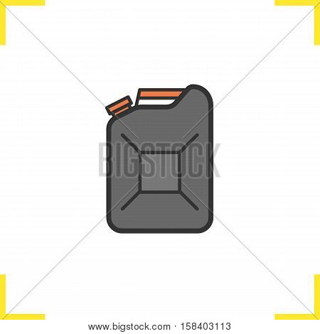Gasoline canister color icon. Petrol jerrycan. Fuel. Isolated vector illustration