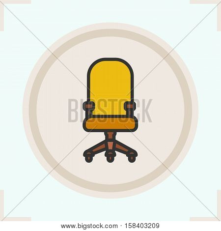 Computer chair color icon. Office chair on wheels. Isolated vector illustration