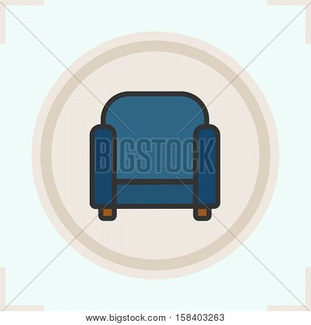 Armchair color icon. Upholstered chair. Isolated vector illustration