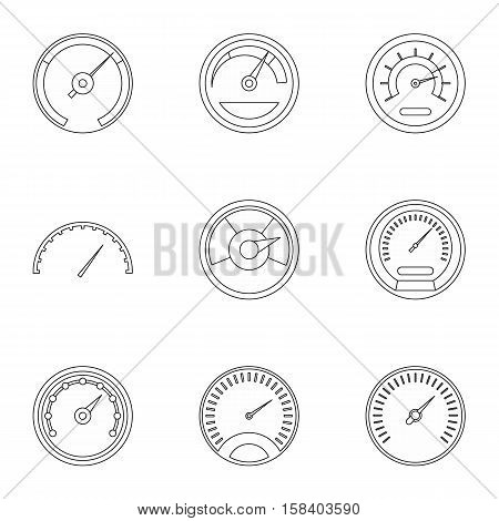 Engine speedometer icons set. Outline illustration of 9 engine speedometer vector icons for web