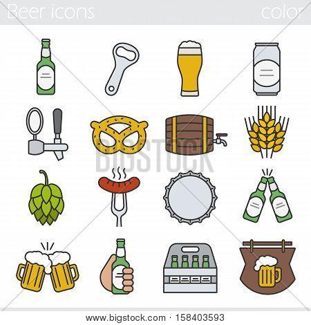 Beer color icons set. Bar and pub isolated vector illustrations. Foamy beer glass, bottle, can, mug, keg, crate, tap, cap, bottle opener. Sausage on fork, brezel, rye, hop and wooden bar sign