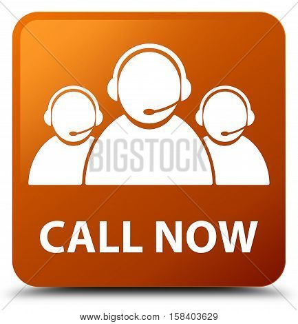 Call now (customer care team icon) brown square button