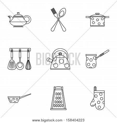 Kitchen utensils icons set. Outline illustration of 9 kitchen utensils vector icons for web