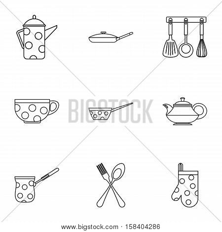 Kitchenware icons set. Outline illustration of 9 kitchenware vector icons for web