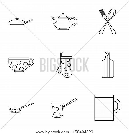 Dishes icons set. Outline illustration of 9 dishes vector icons for web