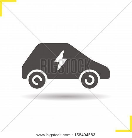 Electric car icon. Drop shadow silhouette symbol. Negative space. Vector isolated illustration