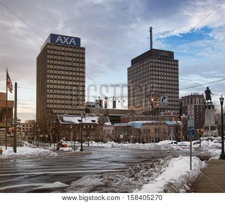 Syracuse New York USA. November 242016. View of Columbus Circle and the AXA and Mony Towers Thanksgiving Day morning 2016