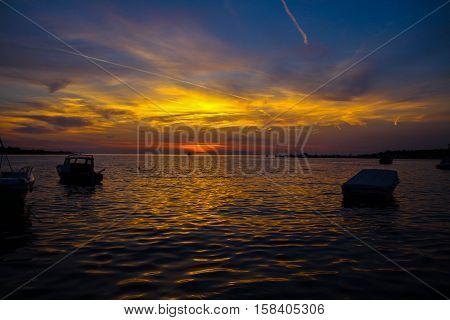 Meer, Sonnenuntergang, Sonneaufgang, Boote, Horizont, Abendstimmung, Wasser,